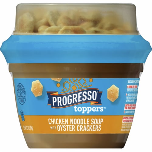 Progresso Toppers Chicken Noodle Soup with Oyster Crackers Perspective: front