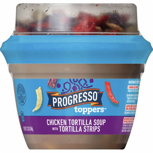 Progresso Toppers Chicken Tortilla Soup with Tortilla Strips Perspective: front