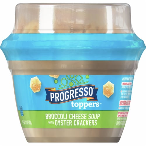 Progresso Toppers Broccoli Cheese Soup with Oyster Crackers Perspective: front