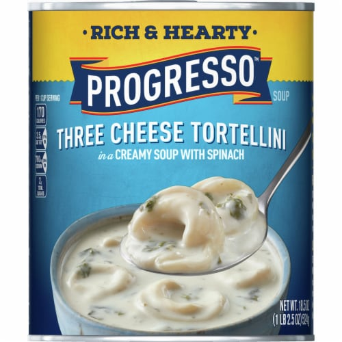 Progresso Rich & Hearty Three Cheese Tortellini Soup Perspective: front