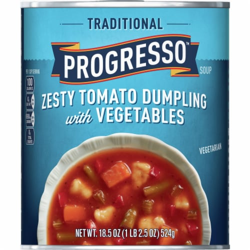 Progresso Traditional Zesty Tomato Dumpling with Vegetables Soup Perspective: front