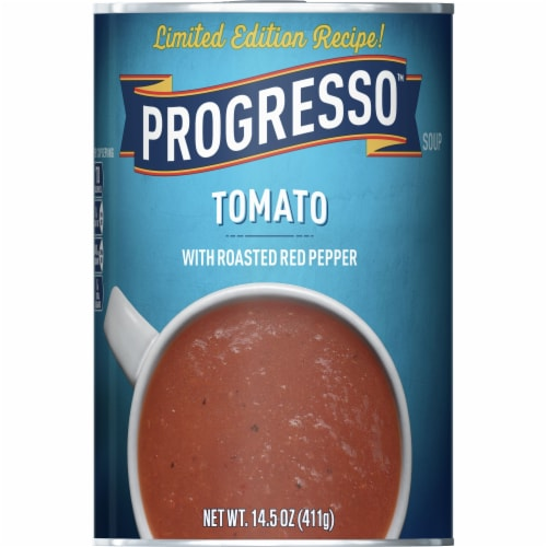 Progresso Tomato with Roasted Red Pepper Soup Perspective: front