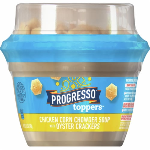 Progresso Toppers Chicken Corn Chowder Soup with Oyster Crackers Perspective: front