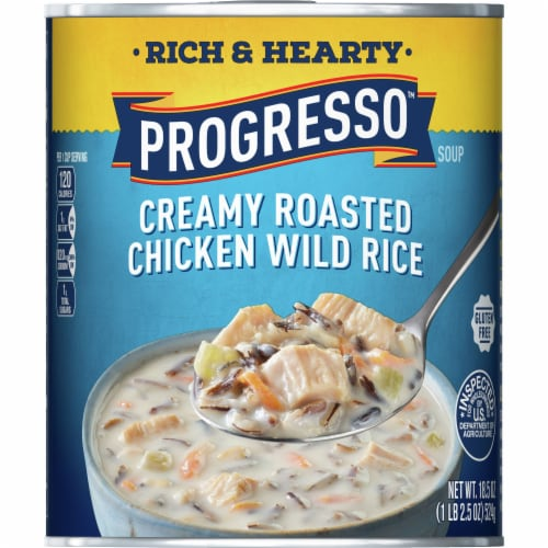 Progresso Rich & Hearty Creamy Roasted Chicken Wild Rice Soup Perspective: front