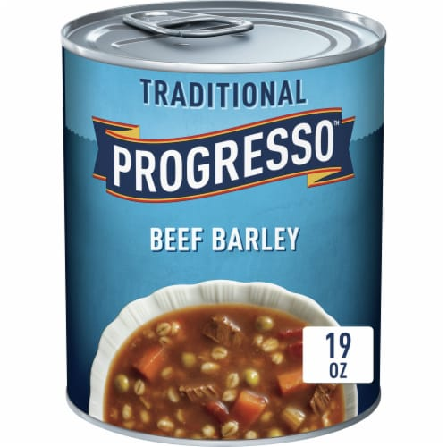 Progresso Traditional Beef Barley Soup Perspective: front