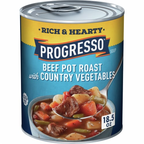 Progresso Rich & Hearty Beef Pot Roast with Country Vegetables Soup Perspective: front