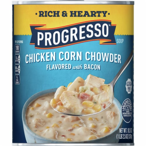 Progresso Rich & Hearty Chicken Corn Chowder Flavored with Bacon Gluten Free Soup Perspective: front
