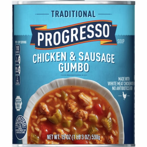 Progresso Traditional Chicken & Sausage Gumbo Soup Perspective: front