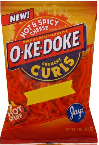 O-Ke-Doke Hot & Spicy Cheese Flavored Crunchy Curls Perspective: front