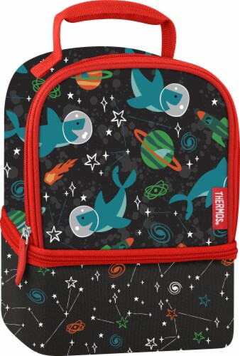 Thermos Space Party Dual Lunch Kit - Black/Red Perspective: front