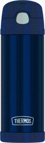 Thermos FUNtainer Stainless Steel Bottle with Spout - Navy Perspective: front