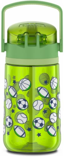 Thermos Plastic Hydration Bottle with Flip Up Straw - Sports League Perspective: front
