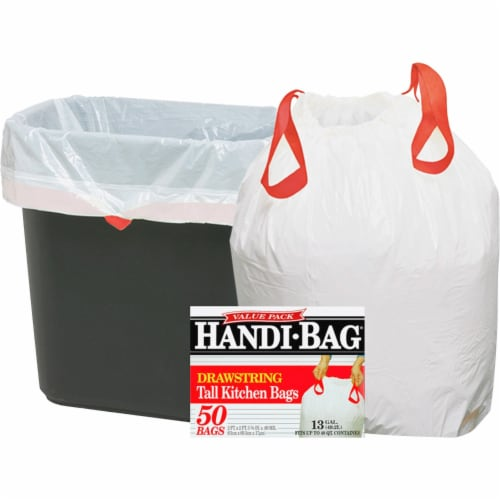 Handi-Bag HAB6DK50 Super Value Pack Trash Bags  13 gallon  .69 mil  24 x 27.38  White  50-Box Perspective: front