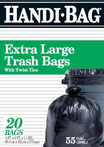Handi-Bag Extra Large Twist Tie Trash Bags 55 Gallon Perspective: front