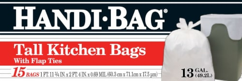 Handi-Bag Flap Tie Tall Kitchen Bags Perspective: front