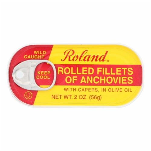 Roland Anchovies Rolled - Olive Oil - Case of 25 - 2 oz. Perspective: front