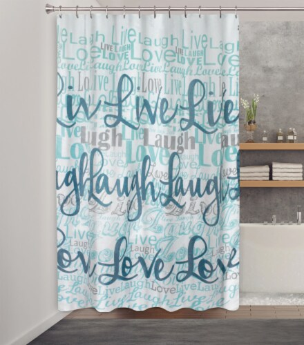 HD Designs Live Laugh Love Fabric Shower Curtain Perspective: front