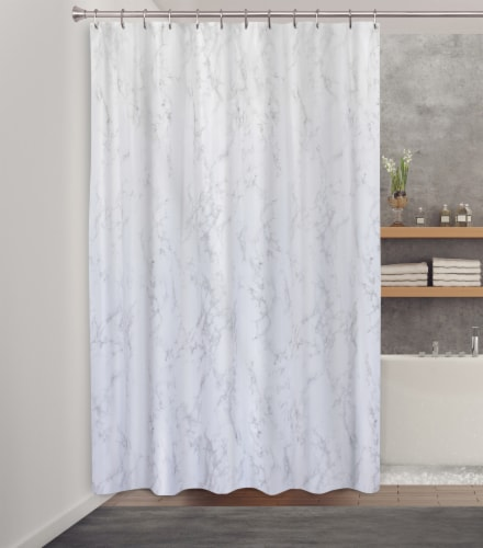HD Designs Fabric Shower Curtain - Gray Marble Perspective: front