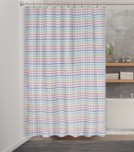 HD Designs Fishey Streak Fabric Shower Curtain Perspective: front