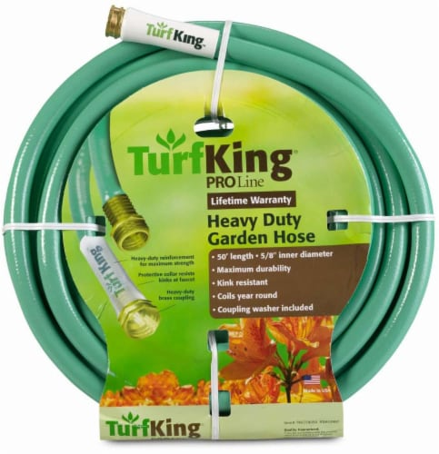 Turf King® PRO Line Heavy Duty Garden Hose - Green Perspective: front