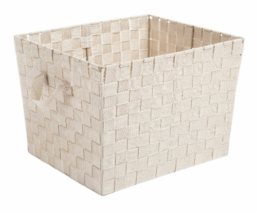 Everyday Living Woven Strap Storage Tote - Latte Perspective: front