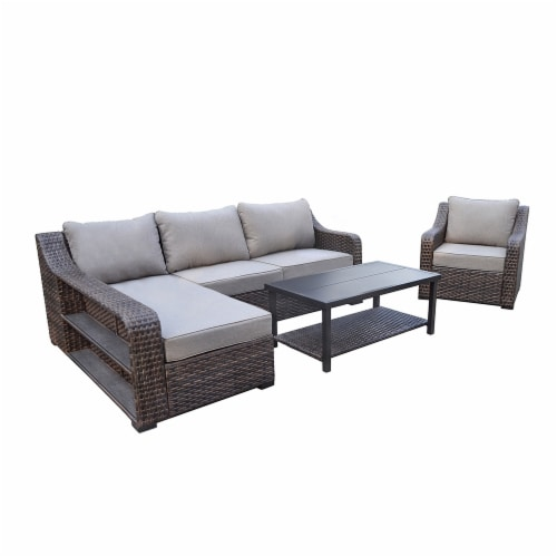 HD Designs Outdoors® Heron Bay Wicker Sofa Set Perspective: front