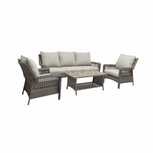 HD Designs Outdoors Maya Wicker Sofa Set Perspective: front