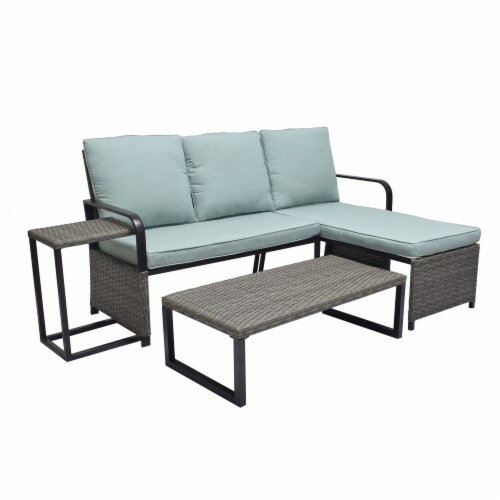 HD Designs Outdoors Lakeline Small Space Sectional Set Perspective: front