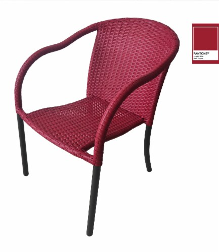 HD Designs Outdoors Wicker Chair - Red Perspective: front