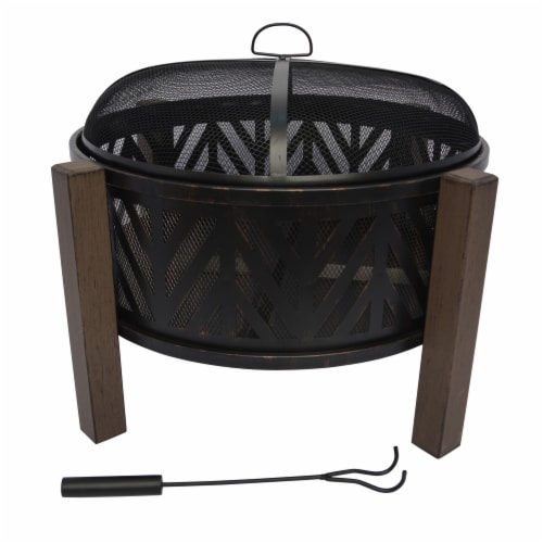 HD Designs Outdoors® Round Steel Firepit - Black Perspective: front