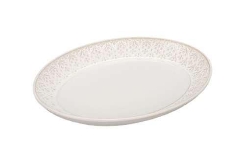 Dash of That Brooklyn Medium Oval High Sided Platter - White Perspective: front
