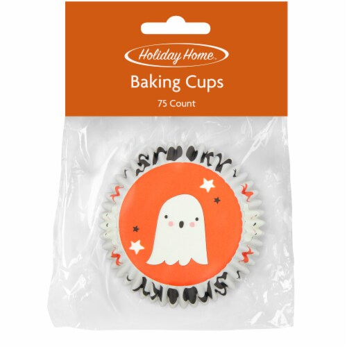 Holiday Home™ Boo Baking Cups - Orange/White Perspective: front