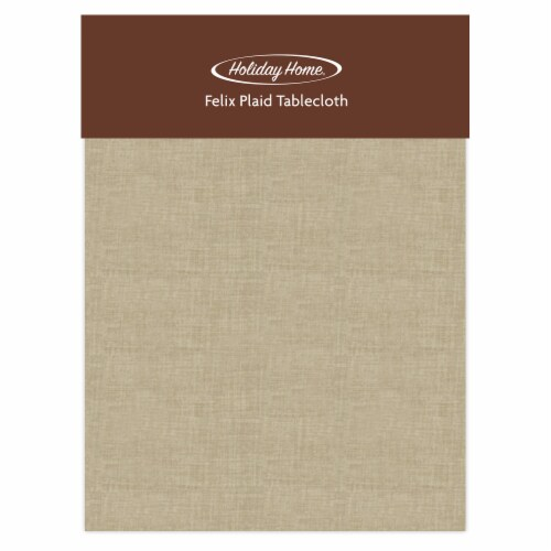 Holiday Home® Felix Plaid Round Tablecloth - Solid Tan Perspective: front