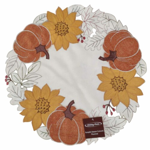 Holiday Home® Round Pumpkin Season Cutwork Placemat Perspective: front