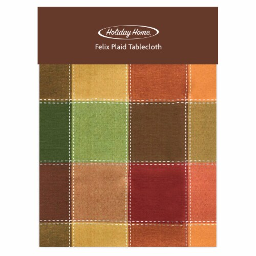 Holiday Home® Round Felix Plaid Tablecloth - Autumn Check Perspective: front