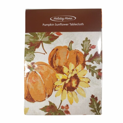 Holiday Home® Pumpkin Sunflower Tablecloth Perspective: front