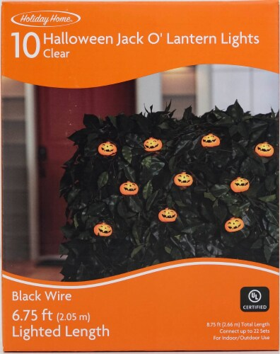 Holiday Home® 10 Halloween Smile Pumpkin String Lights - Clear Perspective: front