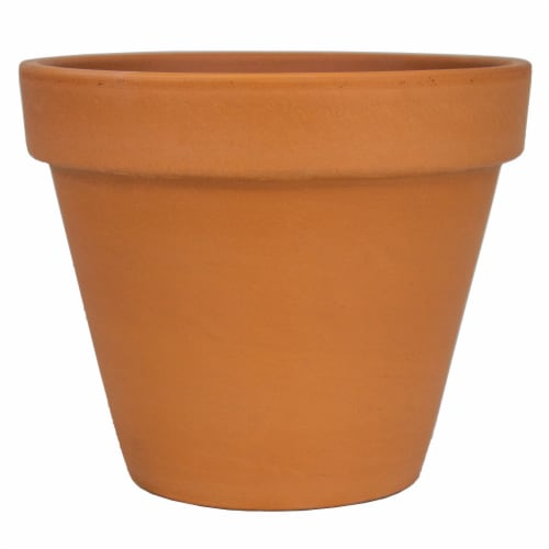 The Joy of Gardening Clay Pot - Red Perspective: front