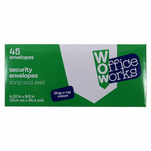 Office Works® Strip and Seal Security Envelopes -  White Perspective: front