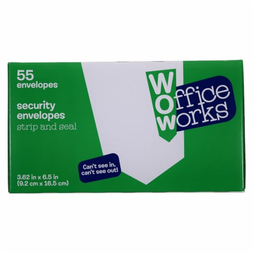 OfficeWorks Strip and Seal Security Envelopes - White Perspective: front
