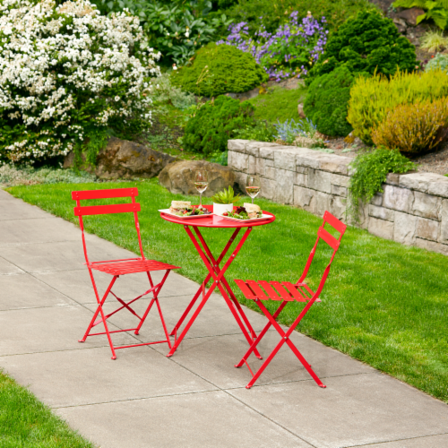 Hd Designs Outdoors Orchards 3 Piece Bistro Set Scarlet Red