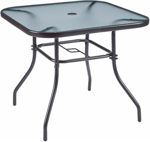 HD Designs Outdoors Orchards Square Glass Top Dining Table - Black Perspective: front