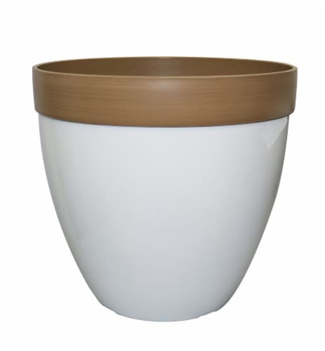 The Joy of Gardening Engrained Planter - White Perspective: front