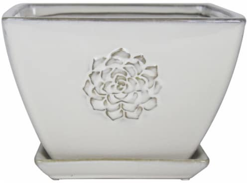 The Joy of Gardening Stone Succulent Square Pot - White Perspective: front