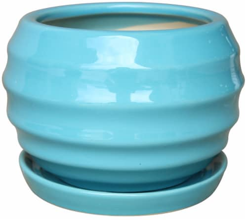 The Joy of Gardening Lantern Ball Planter - Blue Perspective: front