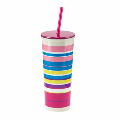 HD Designs Outdoors Stainless Steel Tumbler with Straw - Sunset Stripe Perspective: front