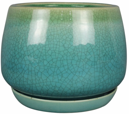 The Joy of Gardening Dripping Geo Bell Planter - Green / Blue Perspective: front