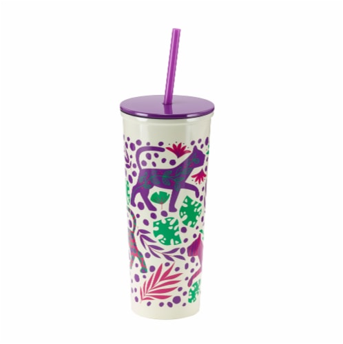 HD Designs Outdoors Stainless Steel Tumbler with Straw - Cheetah Perspective: front