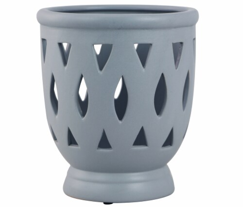 The Joy of Gardening Tall Serafina Orchid Planter - Matte Gray Perspective: front
