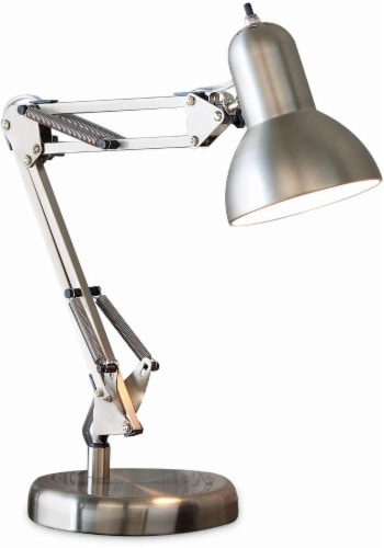 Office Works Sinatra Swing Arm Desk Lamp - Silver Perspective: front